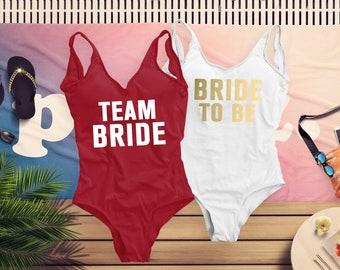 5ec7a05261a9e Bachelorette Swimsuits, Bride and Team Bride Beach Bachelorette,  Bachelorette Party Bathing Suits, Bride Custom Bathing Swim Suit