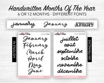 Stickers - Months of the year - Transparent matte sticker paper - 3 different fonts - Bullet Journal & Planner sticker sheet - Journaling