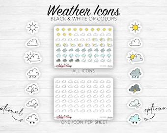 Weather stickers - icons - colors or black and white - different options - Bullet Journal & Planner - Doodles - Journaling