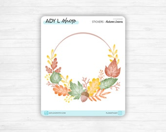 """Sticker - """"Autumn Leaves"""" - Bujo monthly cover page - Fall leaves wreath - Soft fall colors - Bullet Journal / Planner sticker sheet"""