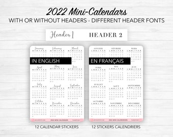 2022 Mini calendar stickers - With or without a header - different header fonts, Bullet Journal & Planner sticker sheet - Journaling