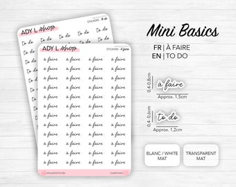 Mini script stickers - To Do - Planner stickers - Minimal, functional stickers - Bullet Journal - Sticker sheet - 77 mini icons