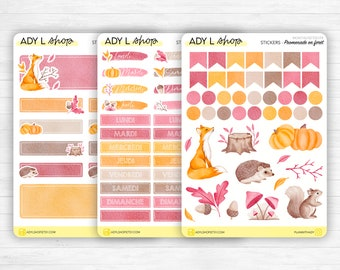 """Monthly set stickers - """"A walk in the forest"""" - Fall theme, doodles, headers, days of the week - Bullet Journal, planner - 3 sticker sheets"""