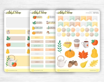 """Monthly set stickers - """"Fall Vibes"""" - for your Bullet Journal, planner - 3 sticker sheets - headers, days of the week, doodles - Journaling"""