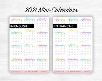 2021 or 2022 Mini calendar stickers - Calligraphy, multicolored headers , Bullet Journal & Planner sticker sheet - Journaling