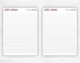Sticker sheet : 24 date strips - Numbered from 1 to 31 - Horizontal or vertical strips - For a 5mm grid - Adaptable - Journaling