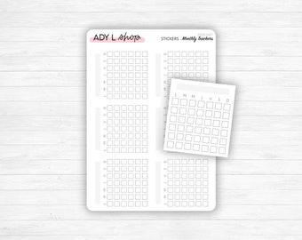 Sticker sheet : 6 mini calendar monthly trackers - Habit tracker - Mood tracker - Journaling