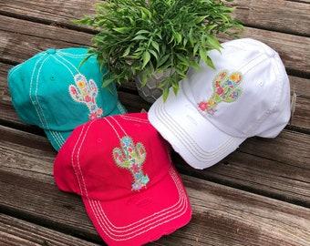 2e367fad90 Cactus Distressed Women's Baseball Cap or Hat-Beach or Boat hat-Cute gift!  3 Colors!