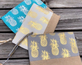 Pineapple Wristlet Zippered Tote or Purse - Perfect for the beach! 6 colors!