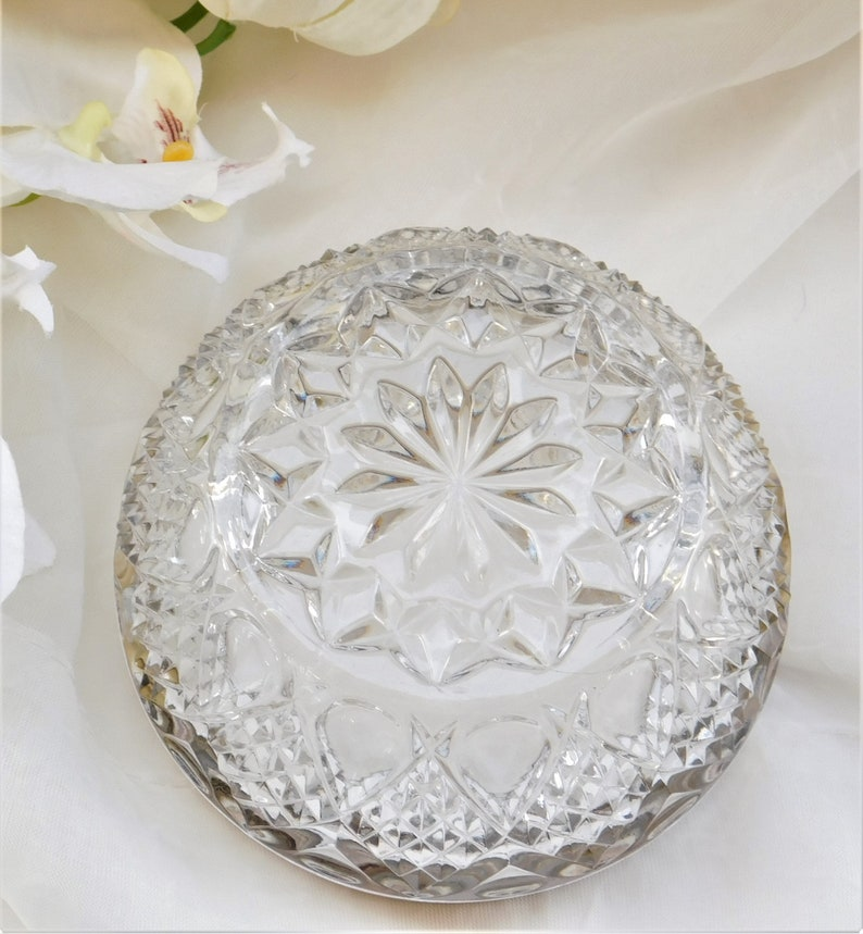 Pressed Carved Glass Bowl with Silver-Plated Rim Vintage Eales SauceDressing Bowl