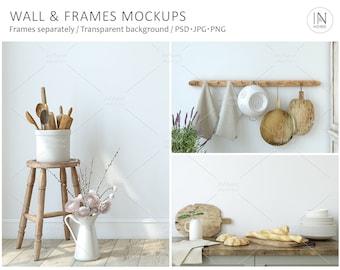 Country kitchen, interior mockup, frame mockup, wall mockup