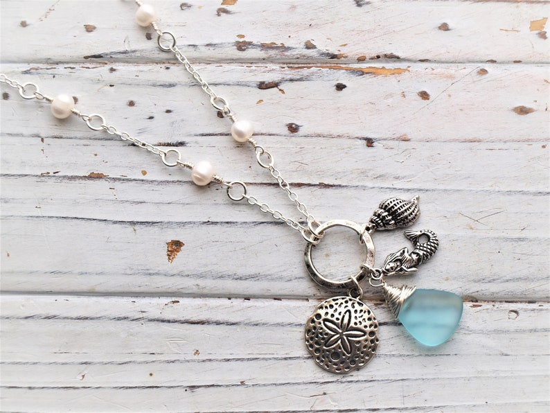 Women/'s Wire Wrapped Aqua Genuine Sea Glass Fresh Water Pearl Mermaid Necklace Beach Jewelry Gift Sea Glass Necklace Mermaid Jewelry