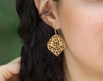 Boho Antiqued Gold Earrings - Filigree Dangles - Awesome Gift Idea