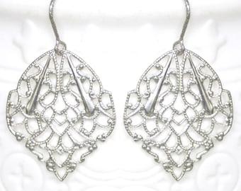 Boho Silver Earrings - Filigree Dangles - Awesome Gift Idea