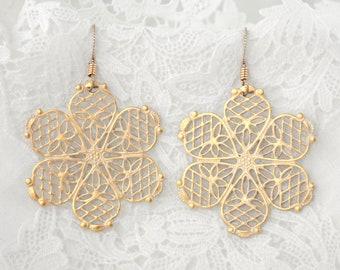 Fun Sassy Boho Frosted Gold Flower Earrings - Filigree Dangles