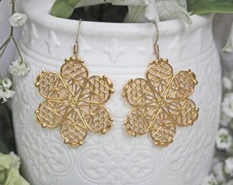 Fun Sassy Boho Gold Flower Earrings - Filigree Dangles