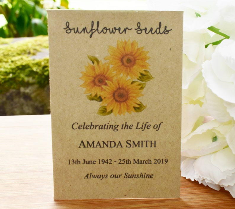 10 x Personalised Sunflower Seed Favours Memorial Funeral Sympathy Remembrance