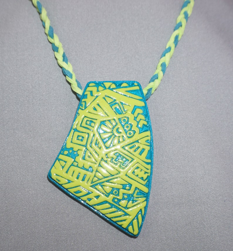 Lime Green /& Turquoise Tribal polymer clay statement jewelry