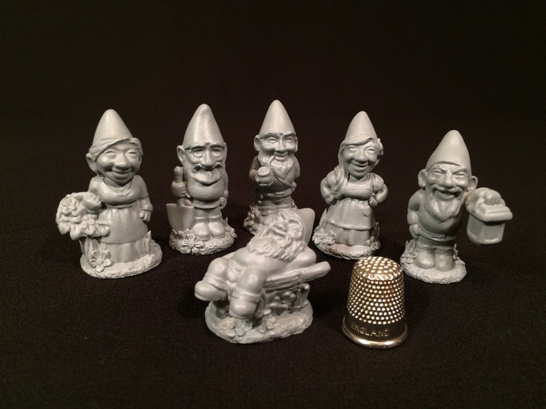 1.6 Assorted Gnome Miniature Figurines  Ready To Paint image 0