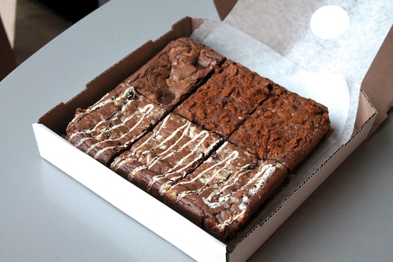 Tilly Wonka's Rich Brownies & Blondies - Box of 6 - Made With Real Fairtrade Belgian Chocolate - The Perfect Gift Idea