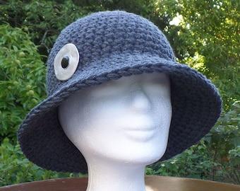 Elegant and warm wool hat, crocheted, 100% merino wool, anthracite