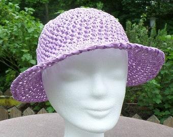 Elegant crocheted sun hat made of bast