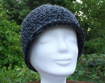Chic and warm cap / merino wool hat, crocheted, grey-black