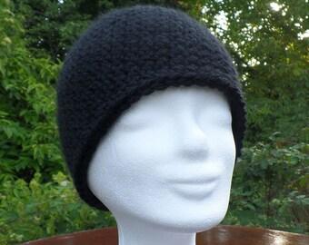 Cap or beanie in the finest baby alpaca wool, crocheted, black, cuddly warm