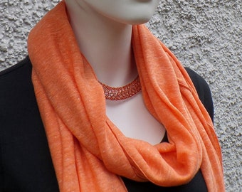 Summer scarf, cloth, linen, orange