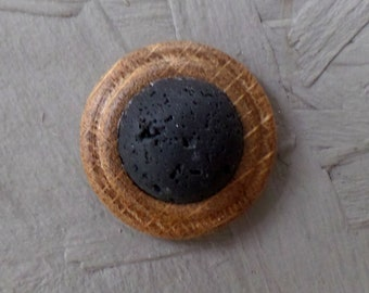 Brooch, oak wood, worker lava stone, fixed with magnet - unique