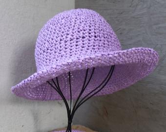 Sun hat, summer hat, raffa, wide brim, lilac
