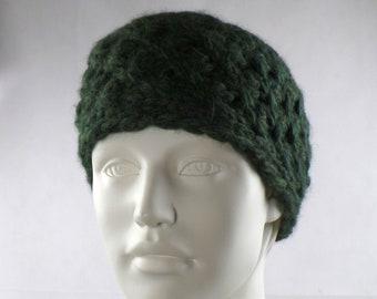 Headband knitted wide merino alpaca wool dark green