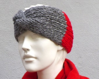 Headband knitted wide merino alpaca wool grey red