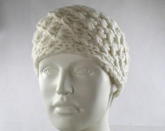 Headband wide knitted merino alpaca wool wool white