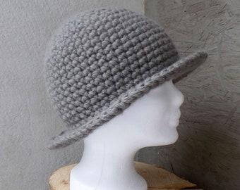 Elegant alpaca/merino wool hat, crocheted, taupe, grey-brown