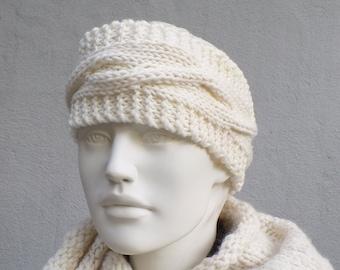 Headband knitted merino wool plait pattern wool white