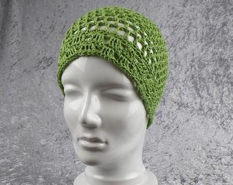 Cap cap summer sun cotton linen mix, green
