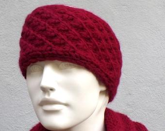 Headband knitted wide merino alpaca wool wine red