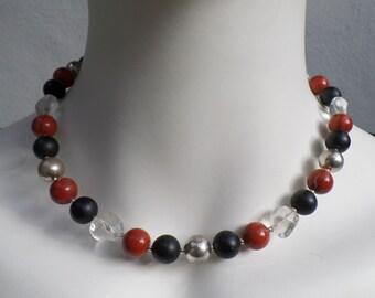 Choker silver with semiprecious stones (Obsidian, Red Jasper, Crystal)