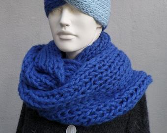 Cuddly winter scarf - merino alpaca wool, royal blue