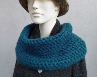 Scarf collar in alpaca with merino, beautifully cuddly, petrol
