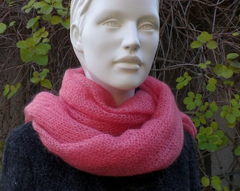 Scarf, cloth, stole, in kid mohair and silk, pink