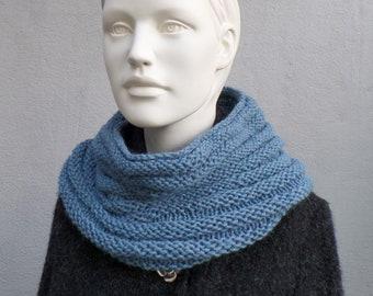 Scarf collar in baby alpaca, beautiful soft, blue