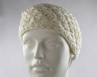 Headband knitted merino wool wool white