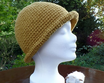 Original wool hat, crocheted, trend colour curry