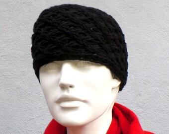 Headband knitted merino wool black