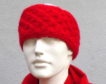 Headband knitted wide merino alpaca wool red