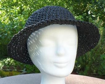Elegant crocheted summer hat in bast black