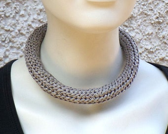 Necklace in bast, light grey, magnetic clasp, unique