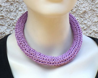 Necklace made of bast, lilac, magnetic clasp, unique